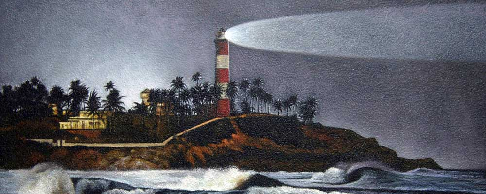 Lighthouse. Guides & Shines into the Future. Awesome oil painting by Christian Staebler