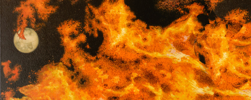 Fire of passion. Detail of beautiful oil painting by Christian Staebler